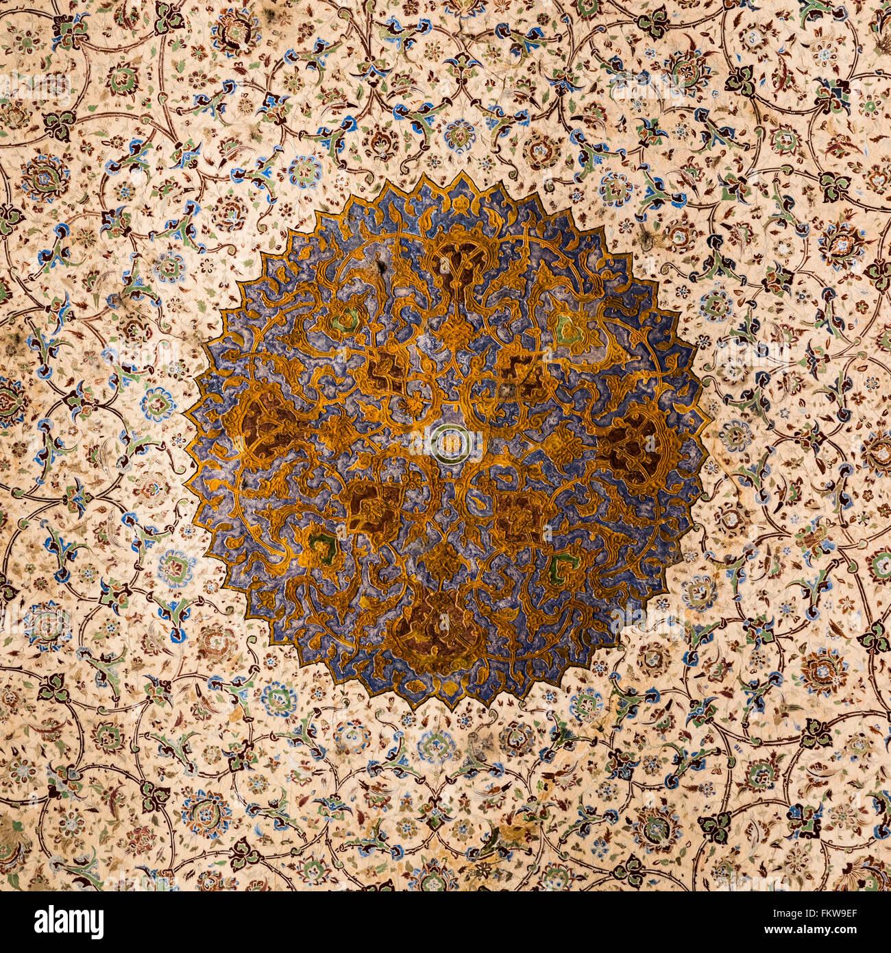 Mosaic tile dome, Qapu Palace, Maydan-e Imam, Esfahan, Iran Stock Photo