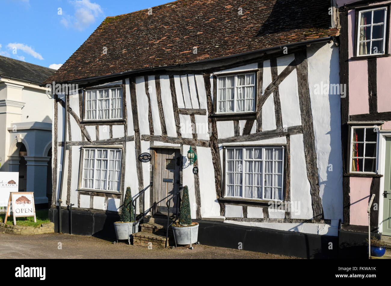 A medieval half timbered building on High Street, Lavenham, Suffolk, England, United Kingdom. Stock Photo