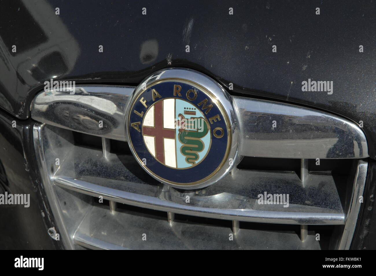 Alfa Romeo Automobiles S.p.A. is an Italian car manufacturer. Founded as A.L.F.A. ('Anonima Lombarda Fabbrica - Stock Image