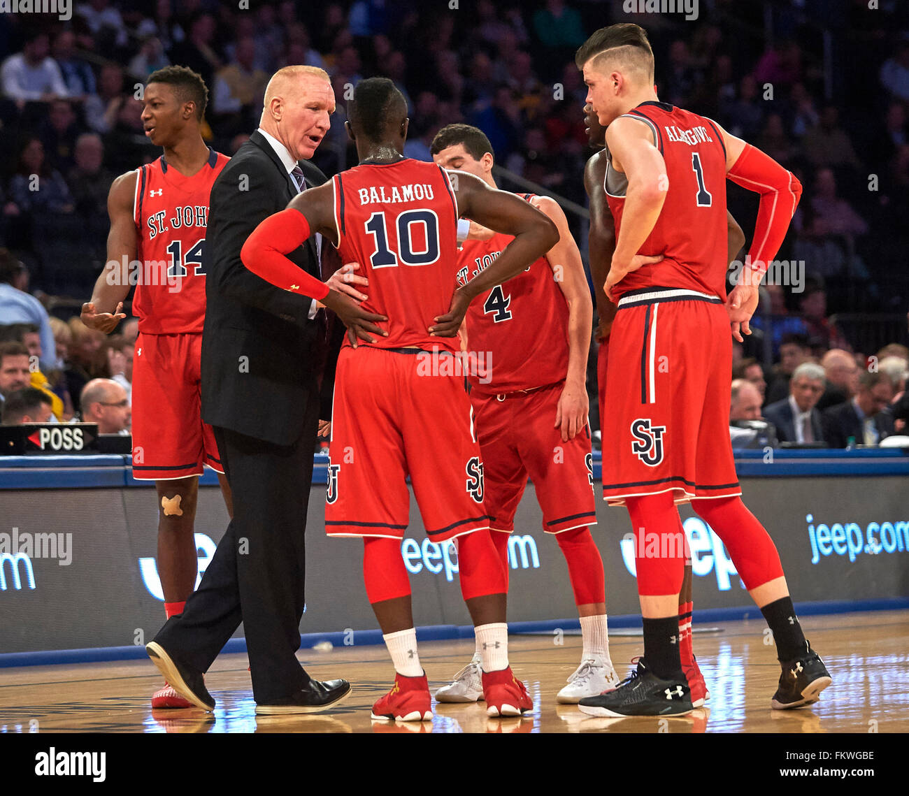 New York New York Usa 9th Mar 2016 St Johns Head Coach Chris Mullin Give Game Instructions During First Round Big East Tournament Between The St Johns Red Storm And The Marquette