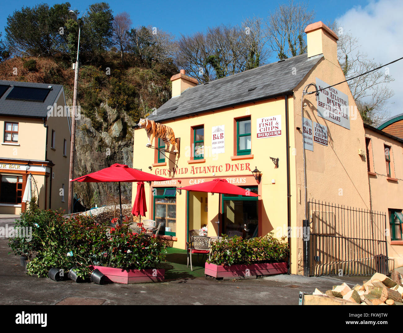 Ger's Diner and B&B in the village of Leap, County Cork, Ireland - Stock Image