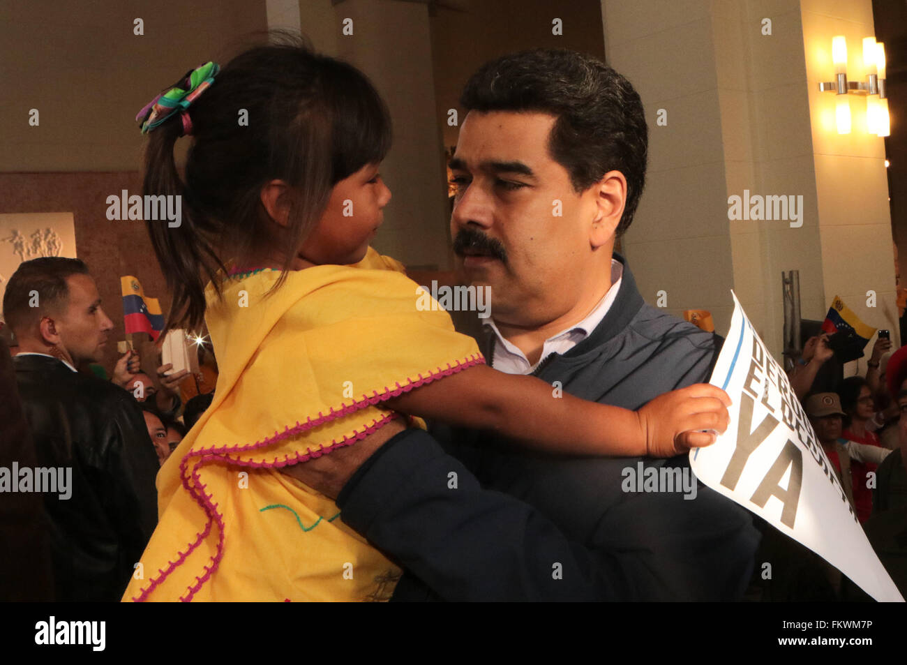 Caracas, Venezuela. 10th March, 2016. Image provided by Venezuela's Presidency shows Venezuelan President Nicolas - Stock Image