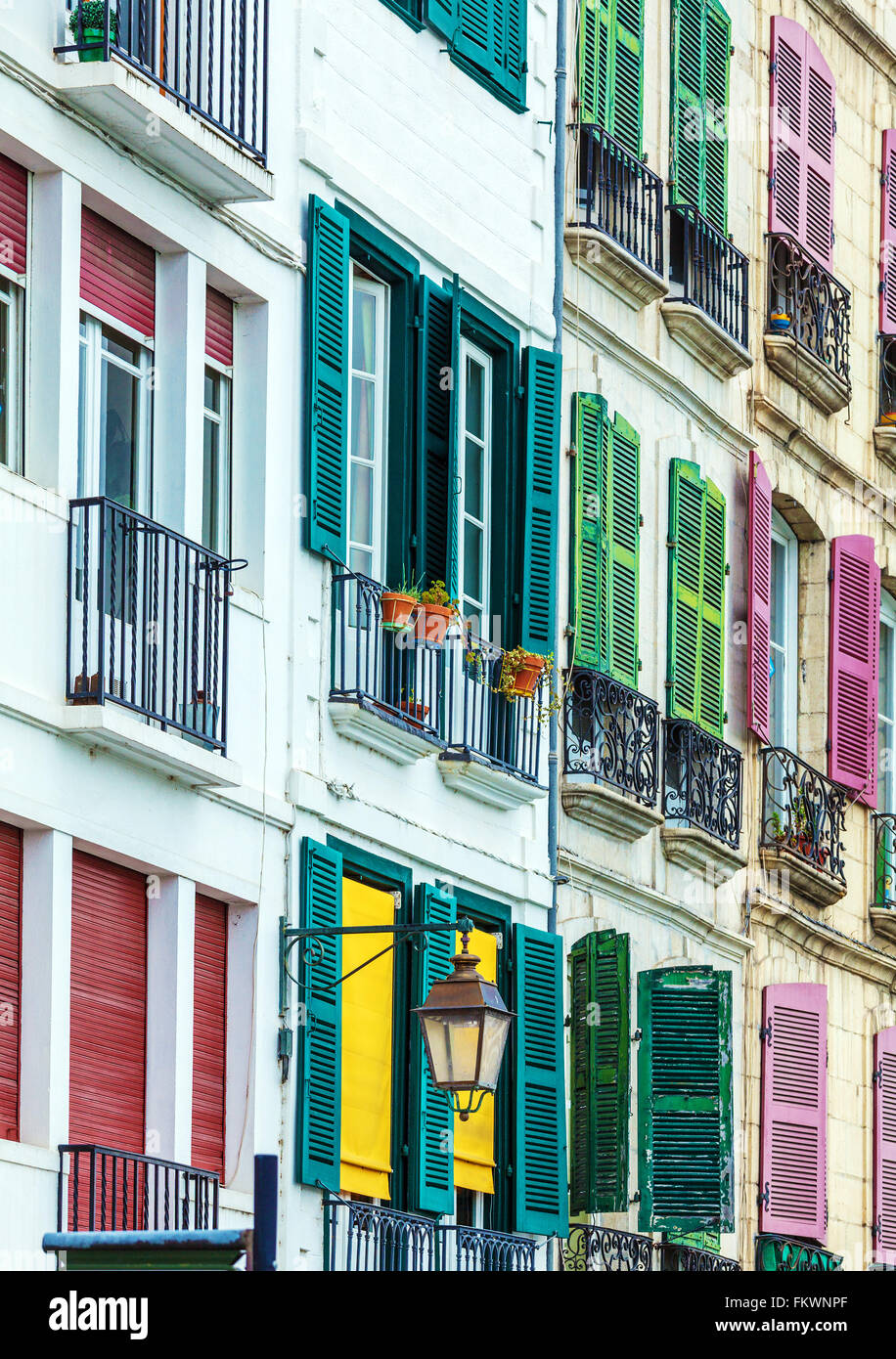 Colorful Shutters of Typical Old Homes, Bayonne, France - Stock Image