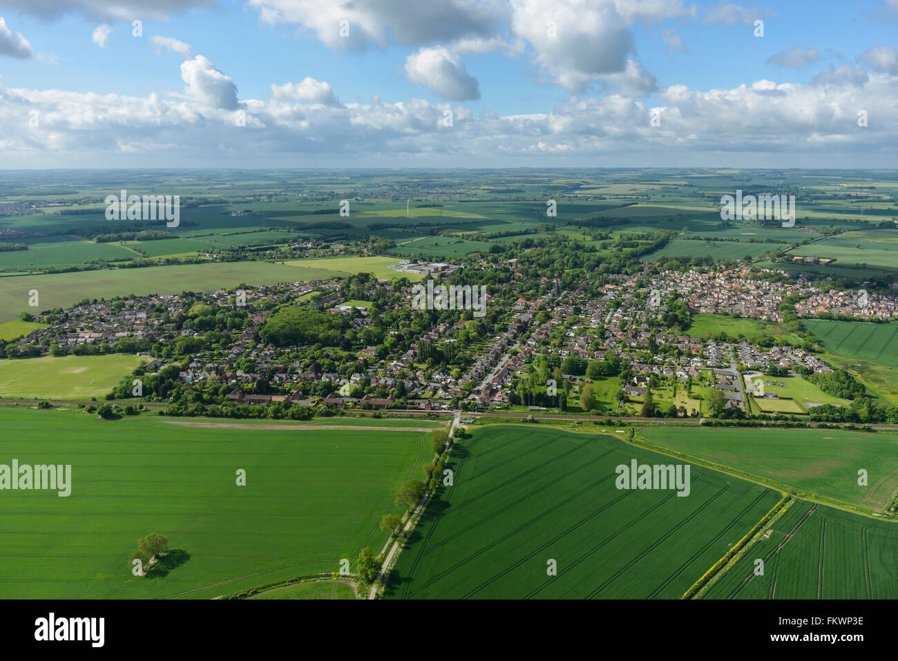An aerial view of the North Lincolnshire village of Healing and surrounding countryside - Stock Image