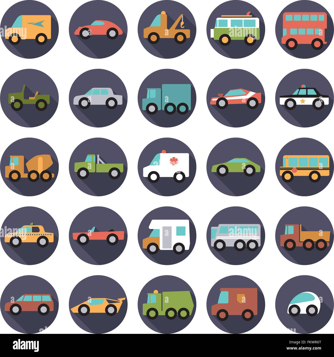 Set of 25 cars, vans and other motor vehicles icons in circles, flat design, long shadow - Stock Image