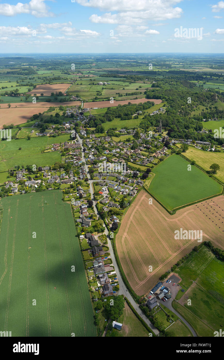 An aerial view of the Shropshire village of Clive and surrounding countryside - Stock Image