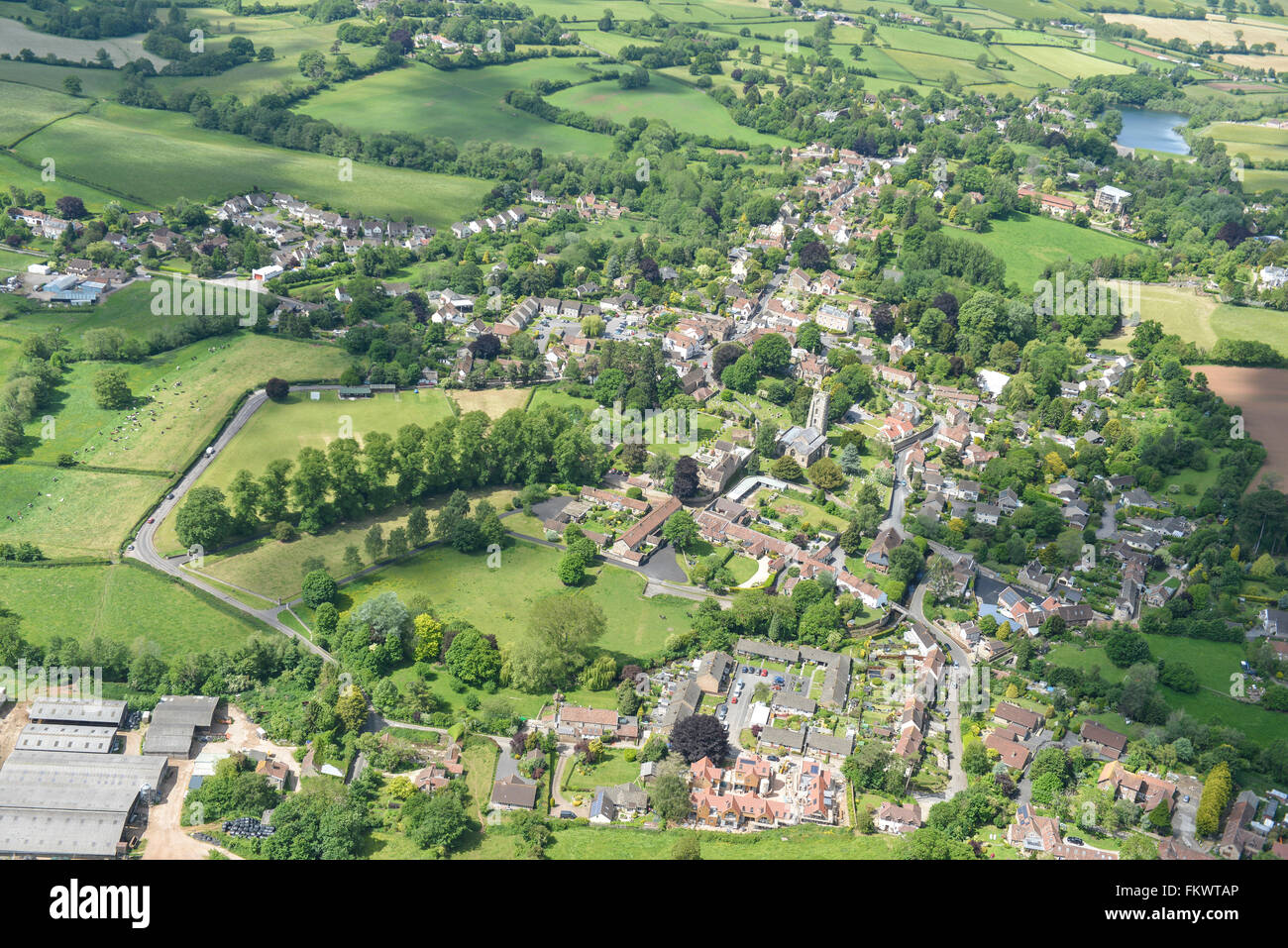 An aerial view of the Somerset village of Chew Magna - Stock Image