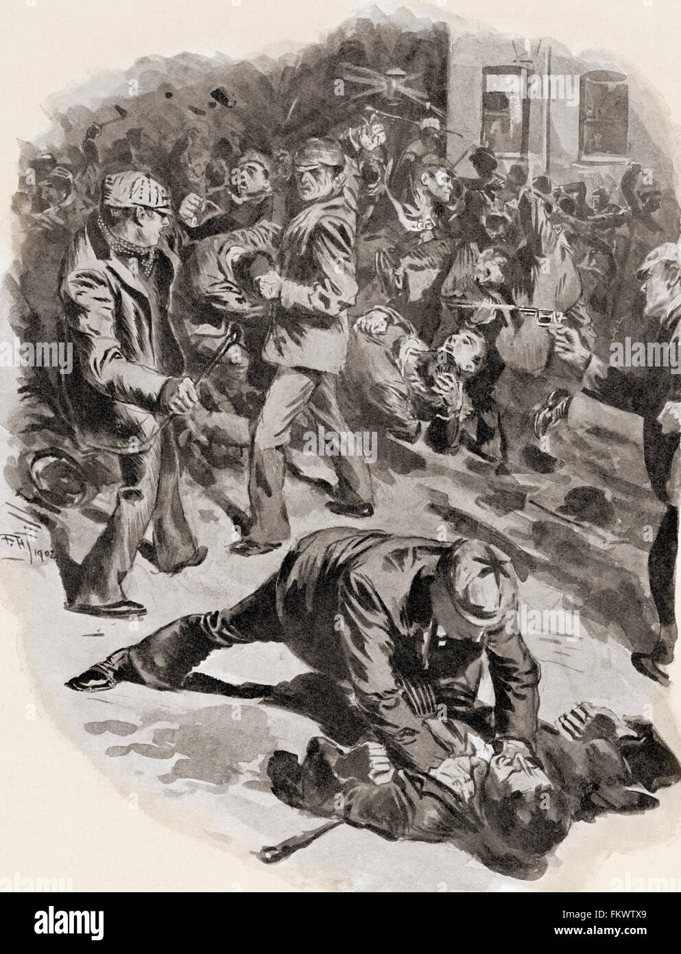 Gang warfare in London, England in the late 19th century. - Stock Image