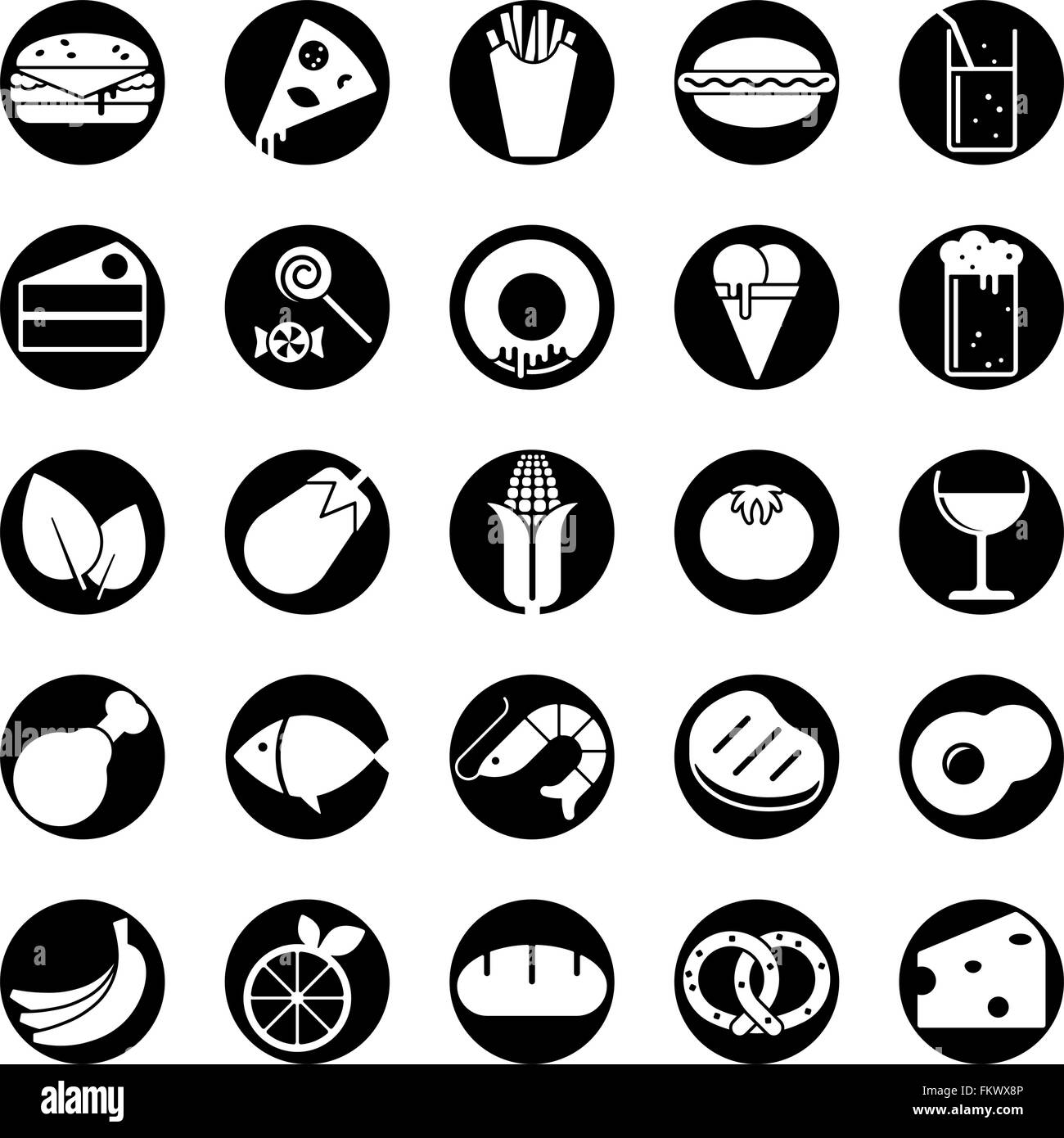 Collection of 25 solid food and drink vector icons in circles - Stock Vector