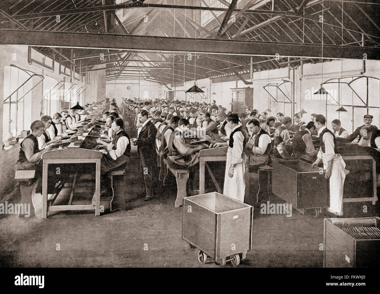 One of the cigar manufacturing departments at Salmon and Gluckstein Ltd, London, England, in the late 19th century. - Stock Image