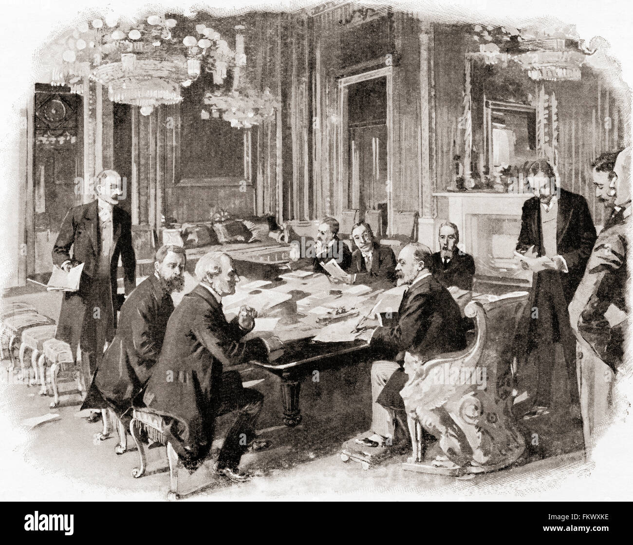 King Edward VII at a privy council meeting at Buckingham Palace, London, England in the late 19th century.  Edward - Stock Image
