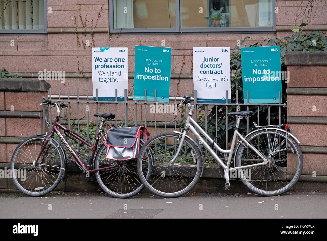 Posters supporting striking junior doctors outside the Bristol Royal Infirmary in Bristol, England on 10 March 2016. Stock Photo