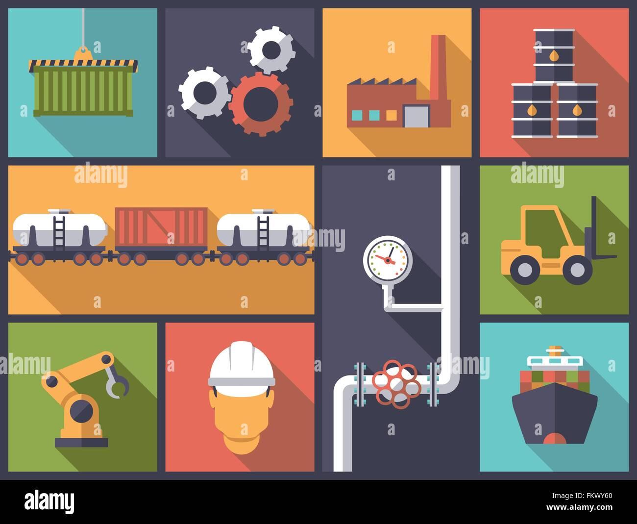 Horizontal flat design illustration with industry symbols - Stock Vector