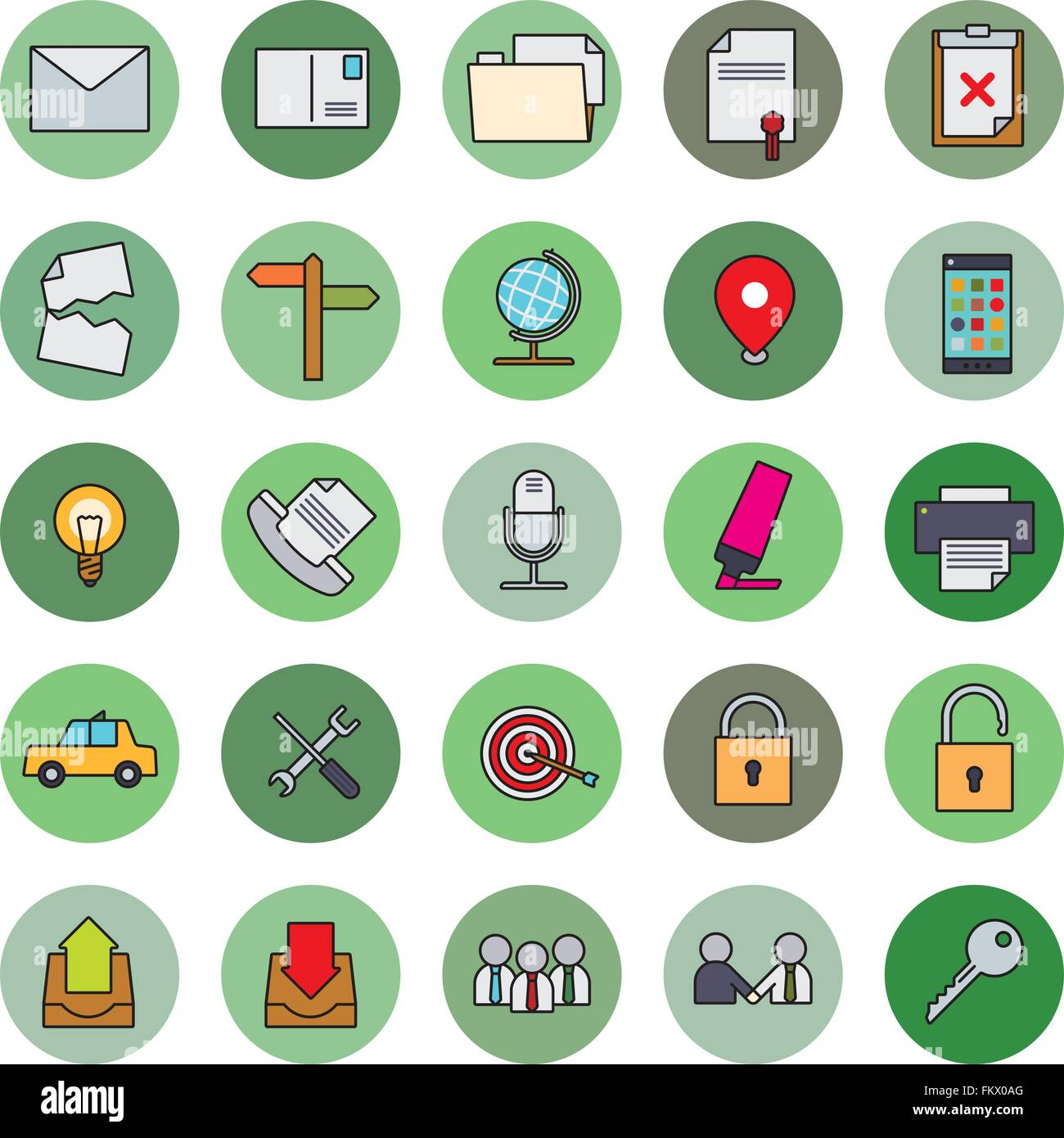 Collection of 25 business and office related filled line icons in circles, part 2 - Stock Image