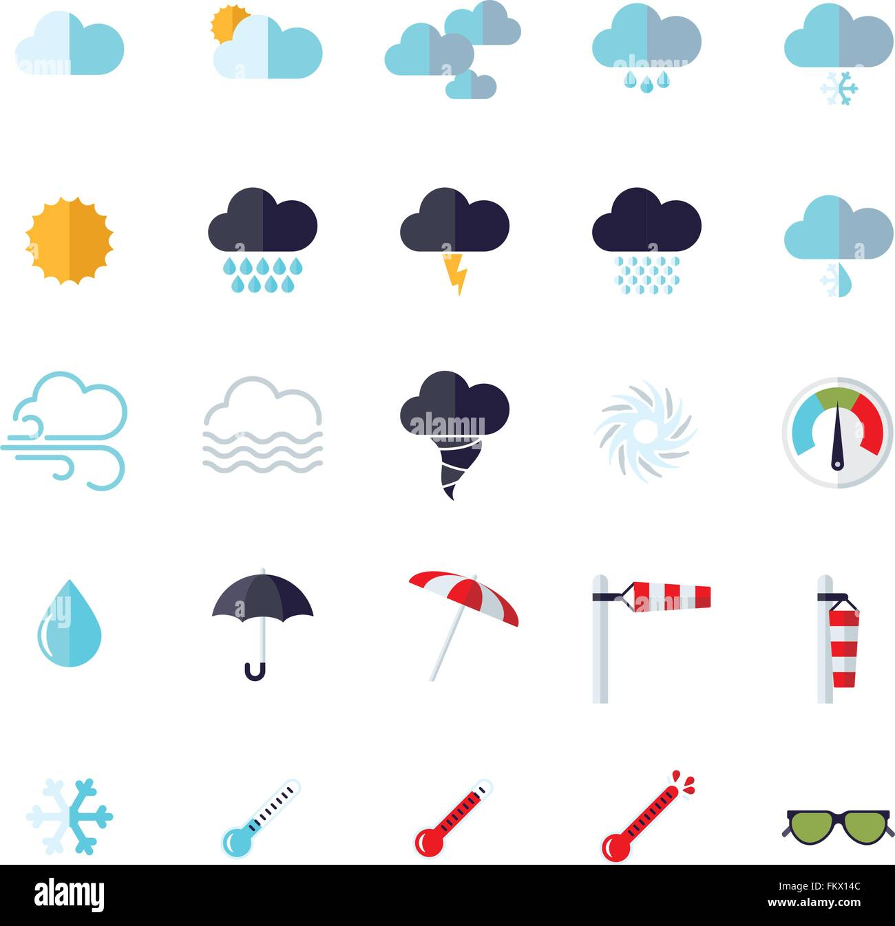 Collection of weather and climate related flat design vector icons - Stock Vector