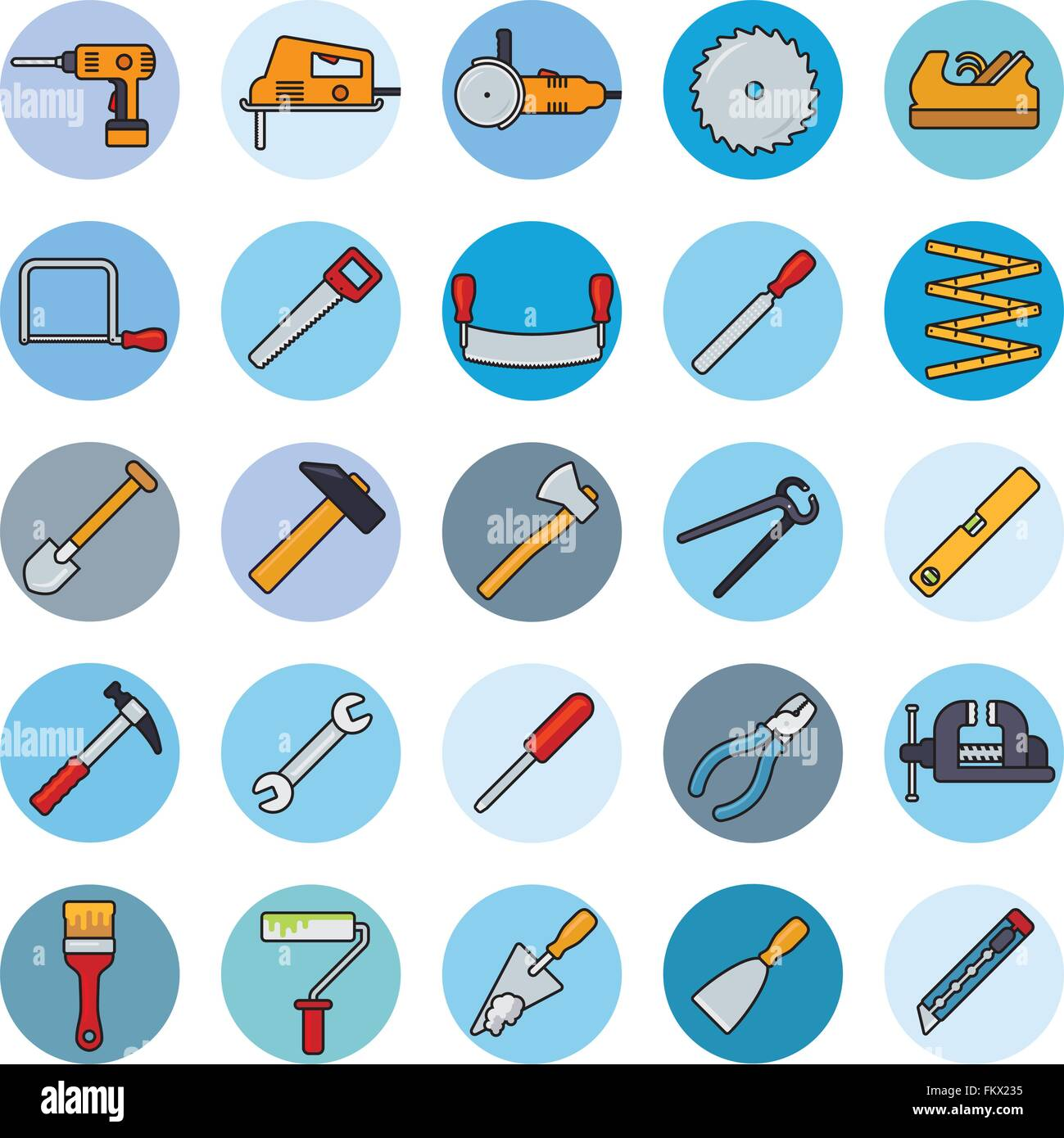 Collection of filled line tools and crafting icons in blue circles - Stock Vector