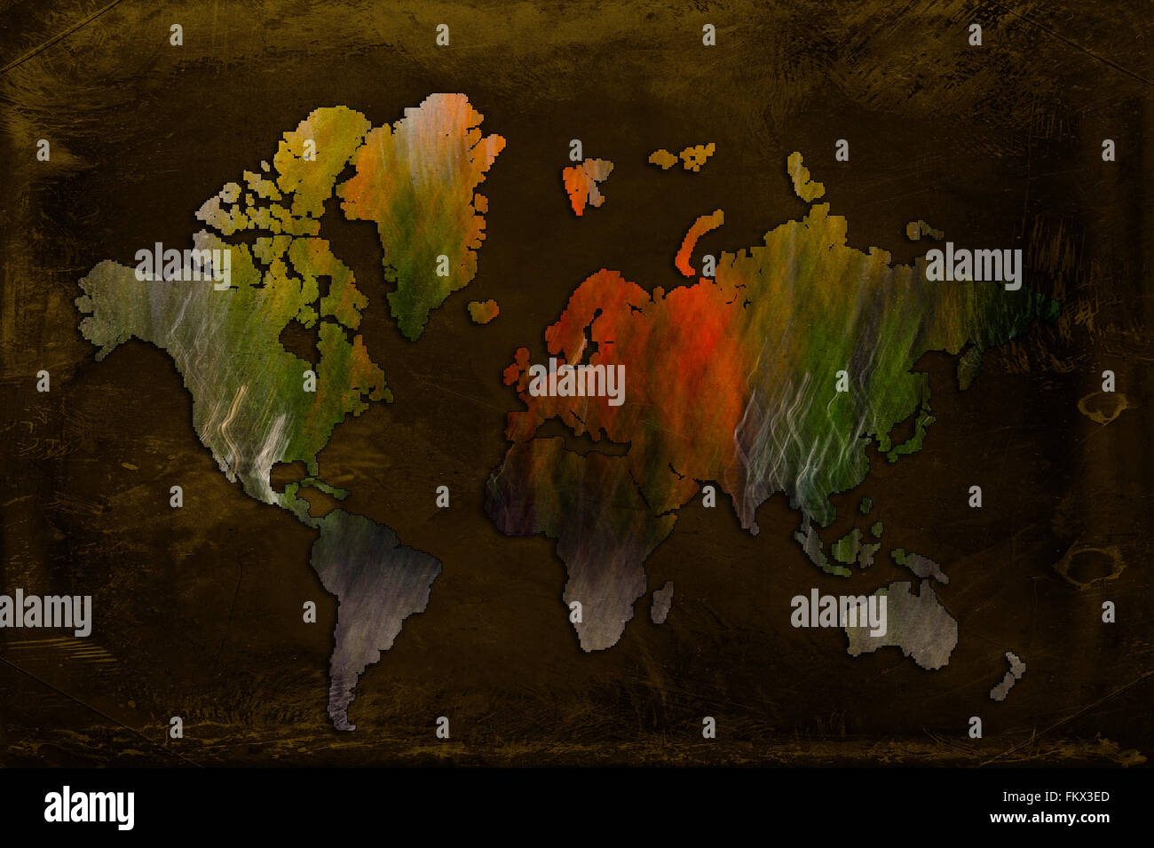 Artistic world map made from abstract photo. - Stock Image