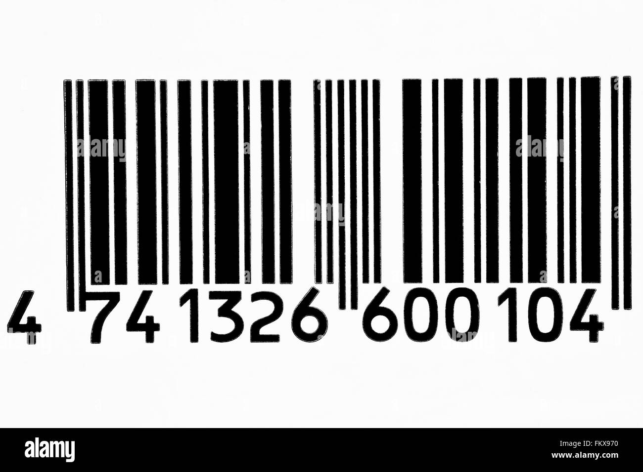 Frontal view black barcode in white background - Stock Image
