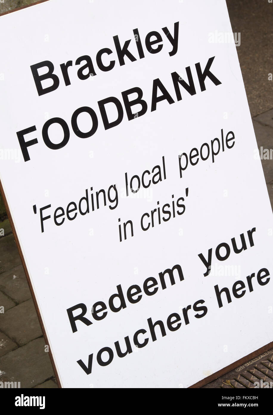 Brackley Foodbank sign. Northamptonshire, England - Stock Image