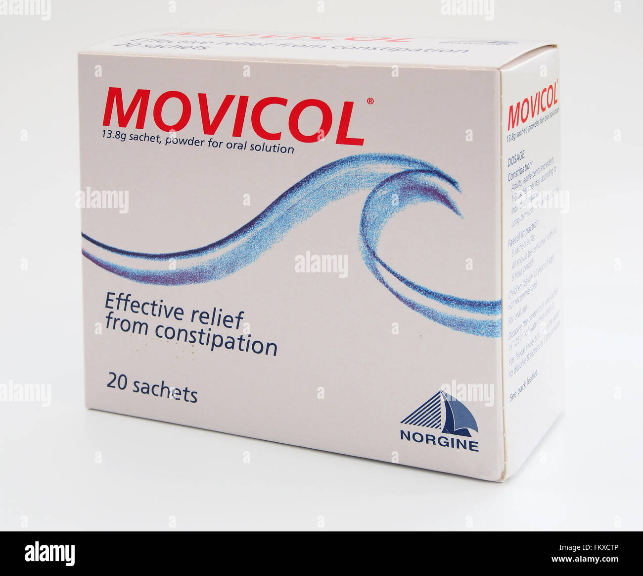 box of movicol polyethylene glycol powder sachets an orally stock