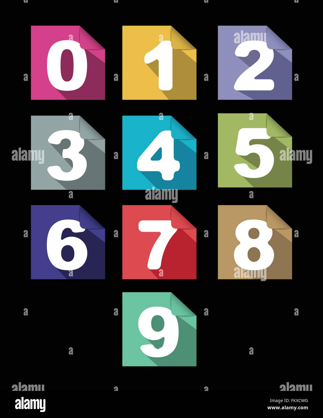 flat paper numbers set with long shadows - Stock Image