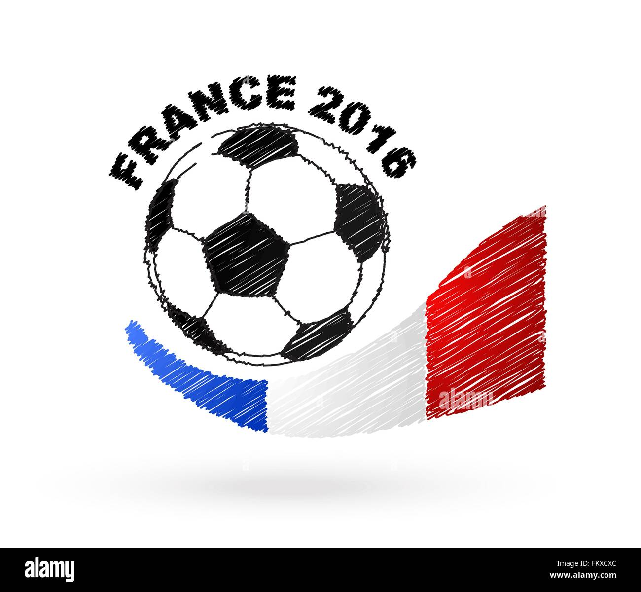Football ball with France flag scribble effect Stock Vector