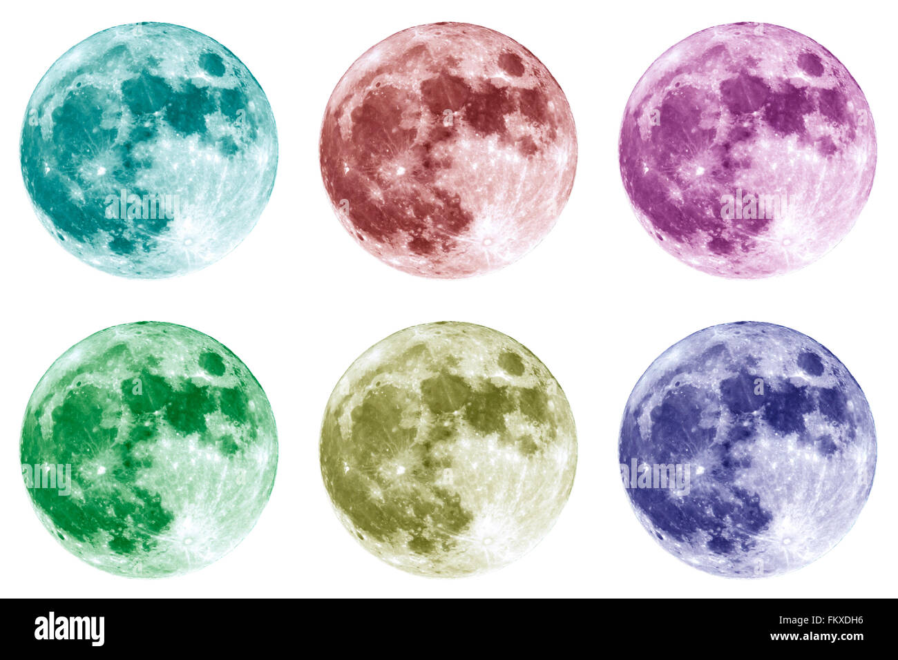 Six different colors collage of the full Moon is seen isolated on a white background. High contrast, high resolution - Stock Image