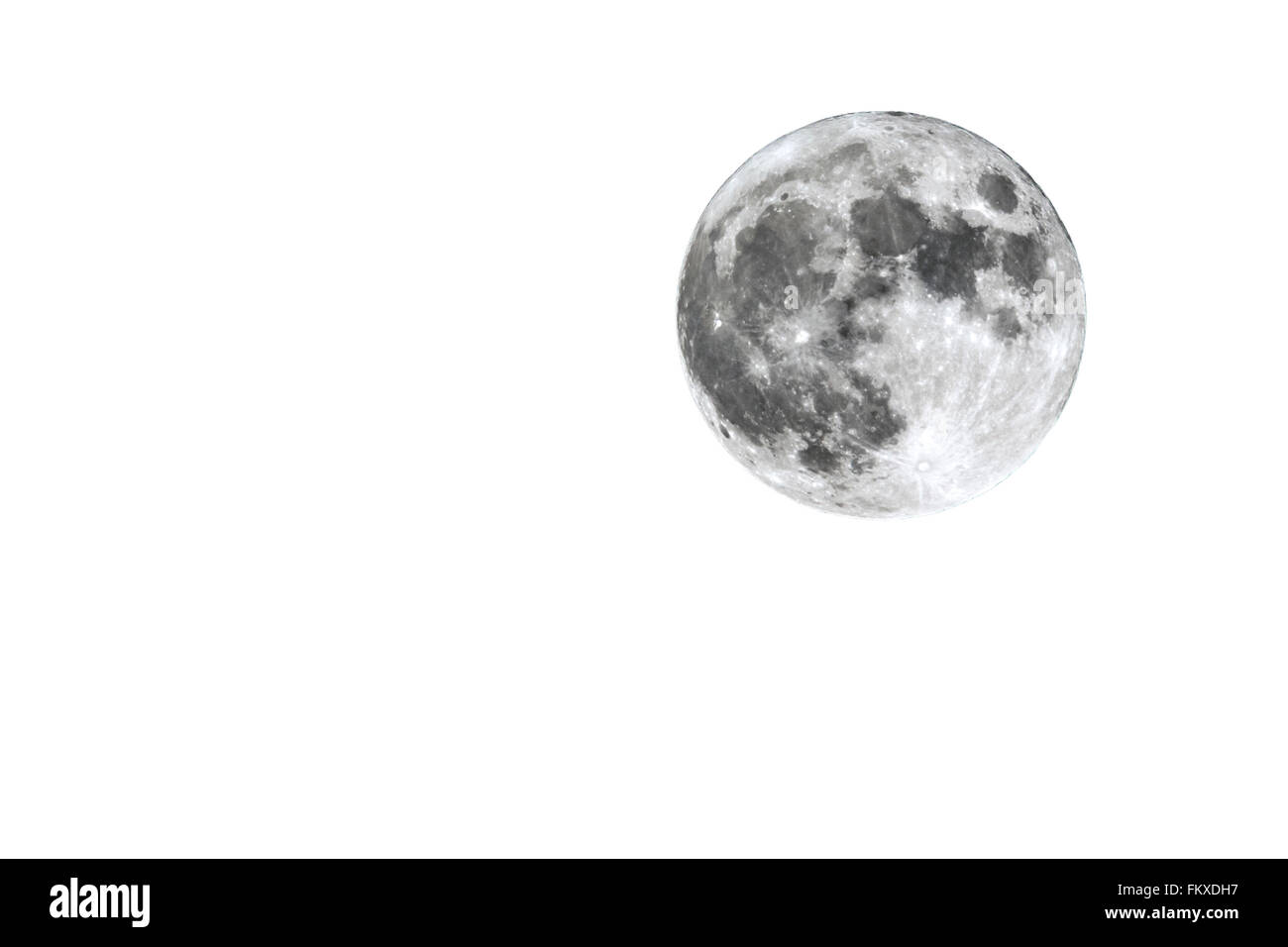 The full Moon is seen isolated on a white background. High contrast, high resolution image taken with a full frame - Stock Image