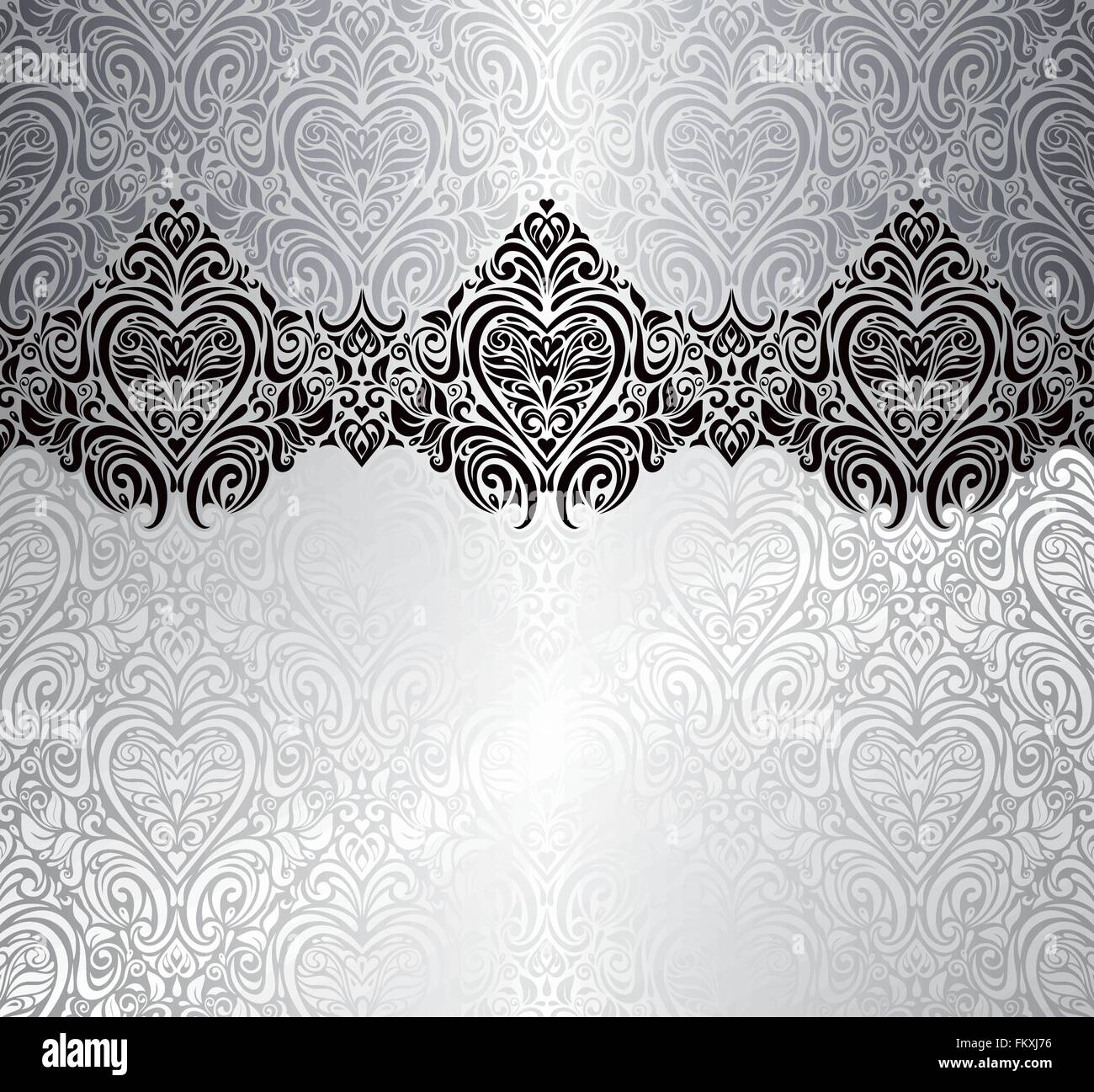silver fashionable invitation vintage background design with hearts