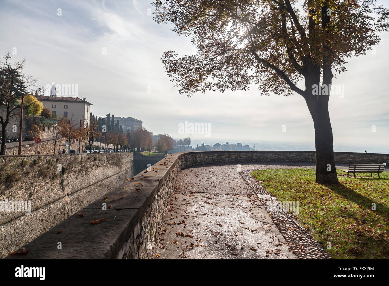 Walls view, built during the venetian domination,  Città Alta, Bergamo,Lombardy,Italy. - Stock Image