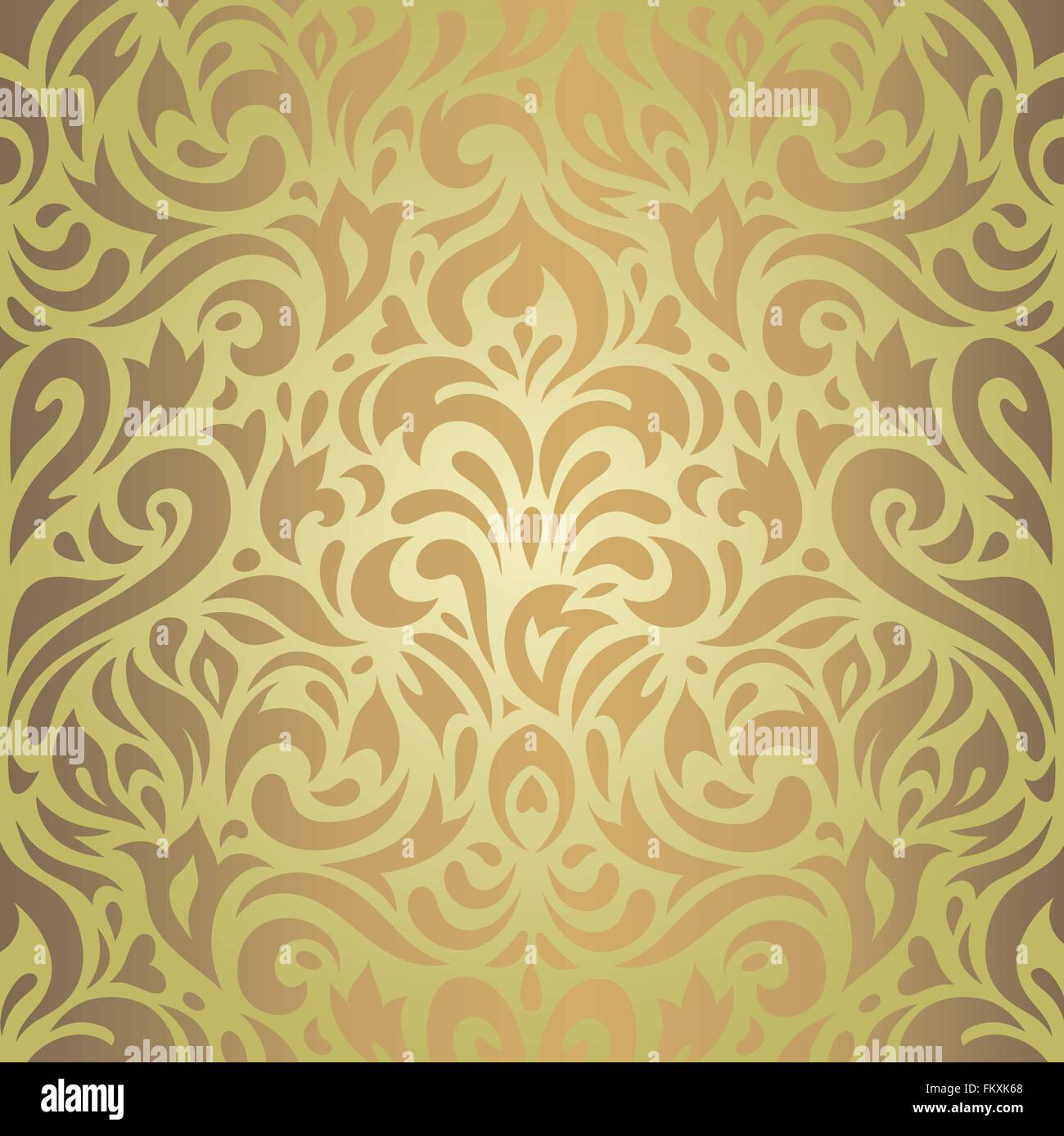 Floral Green Brown Vintage Wallpaper Retro Background