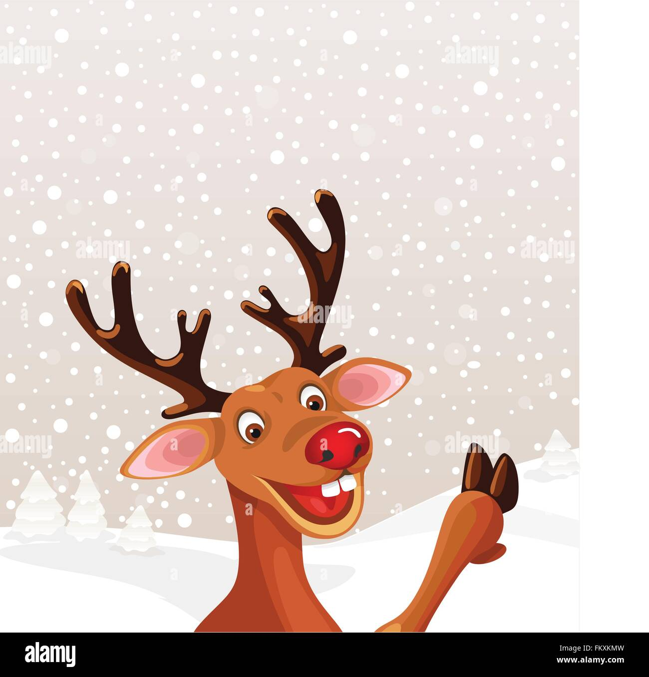 Reindeer with copy space Christmas landscape snowflake pastel background - Stock Image