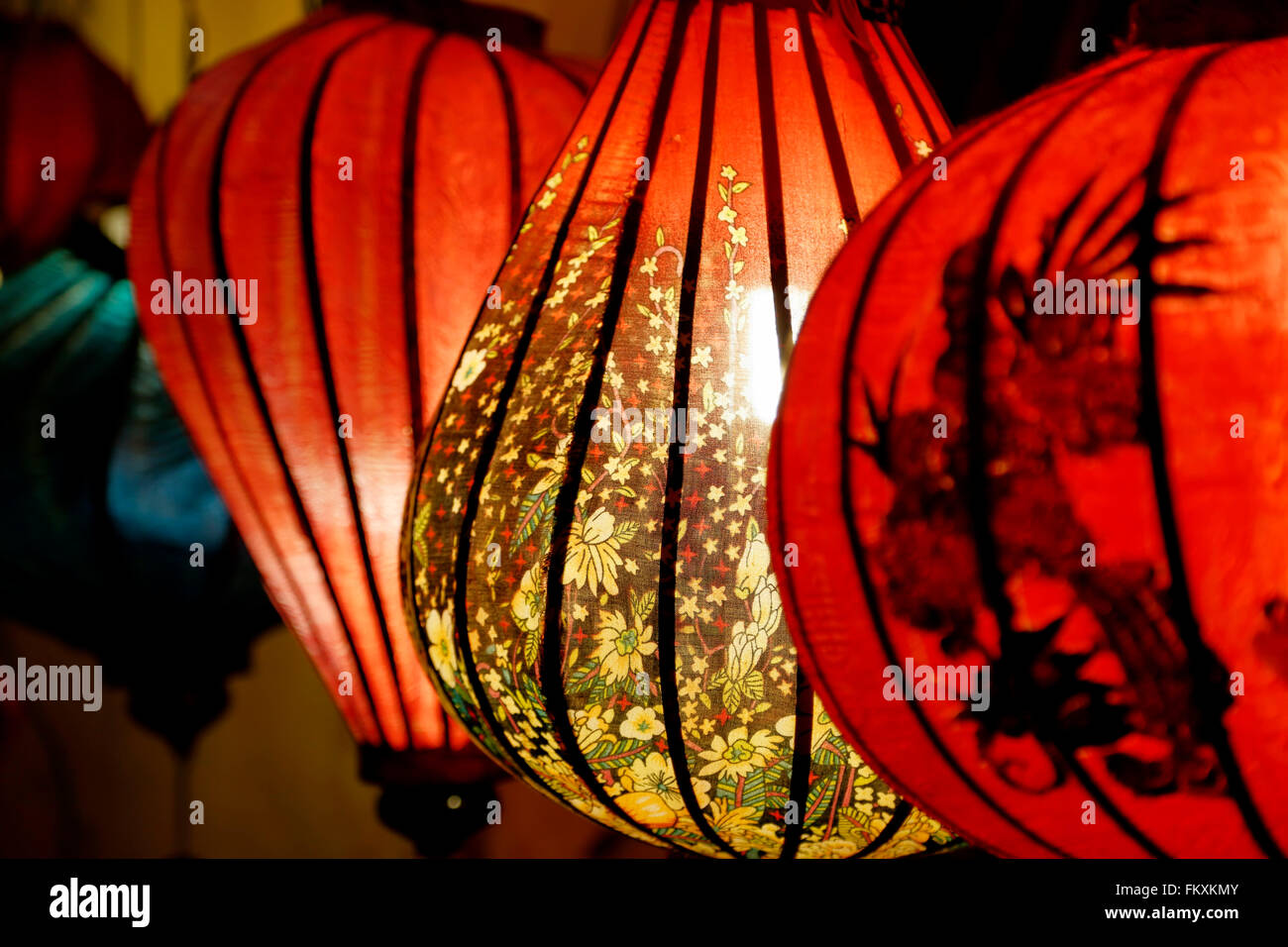 Colorful lanterns during monthly Full Moon Lantern Festival, Hoi An, Vietnam - Stock Image