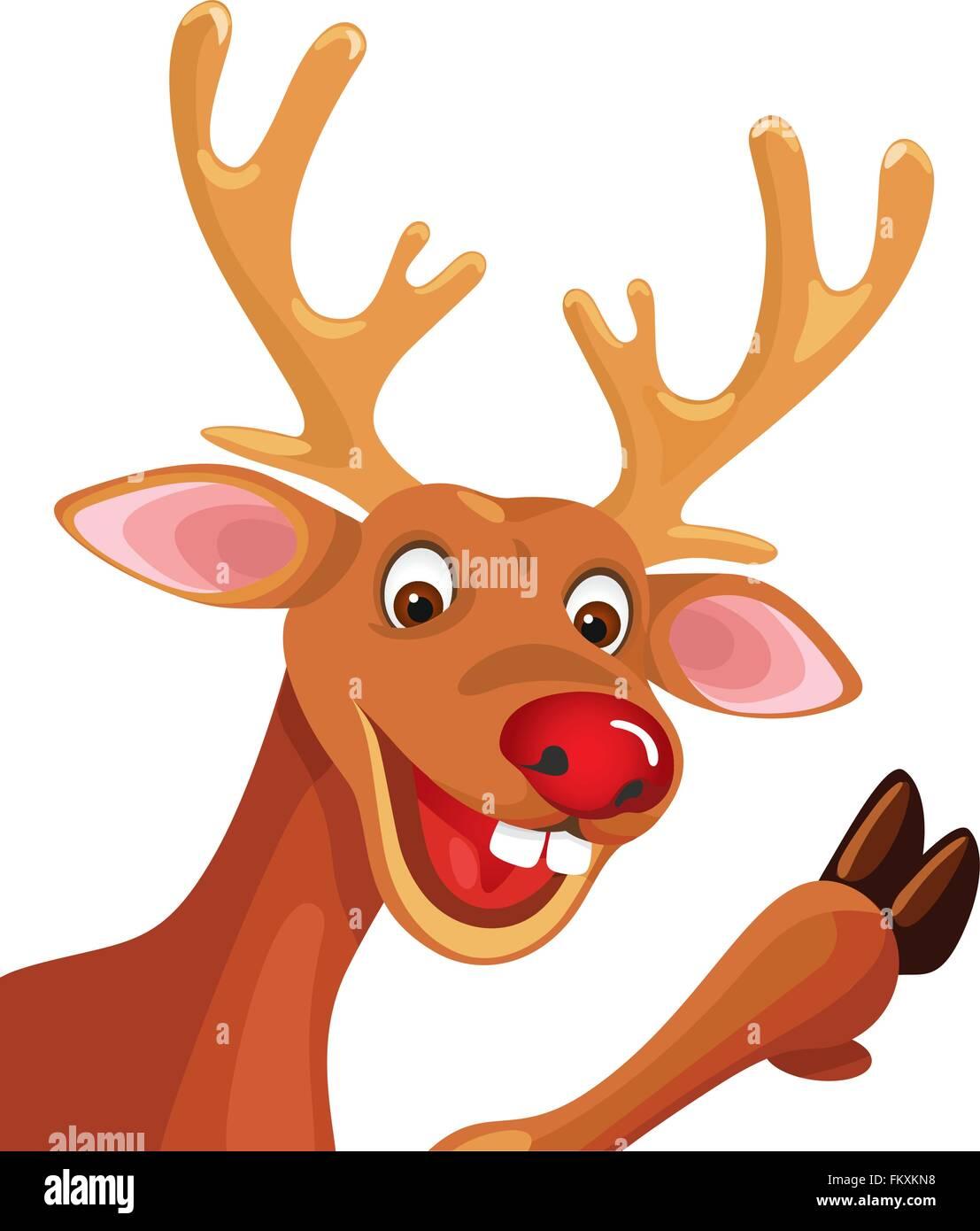 rudolph happy cartoon christmas reindeer stock vector art