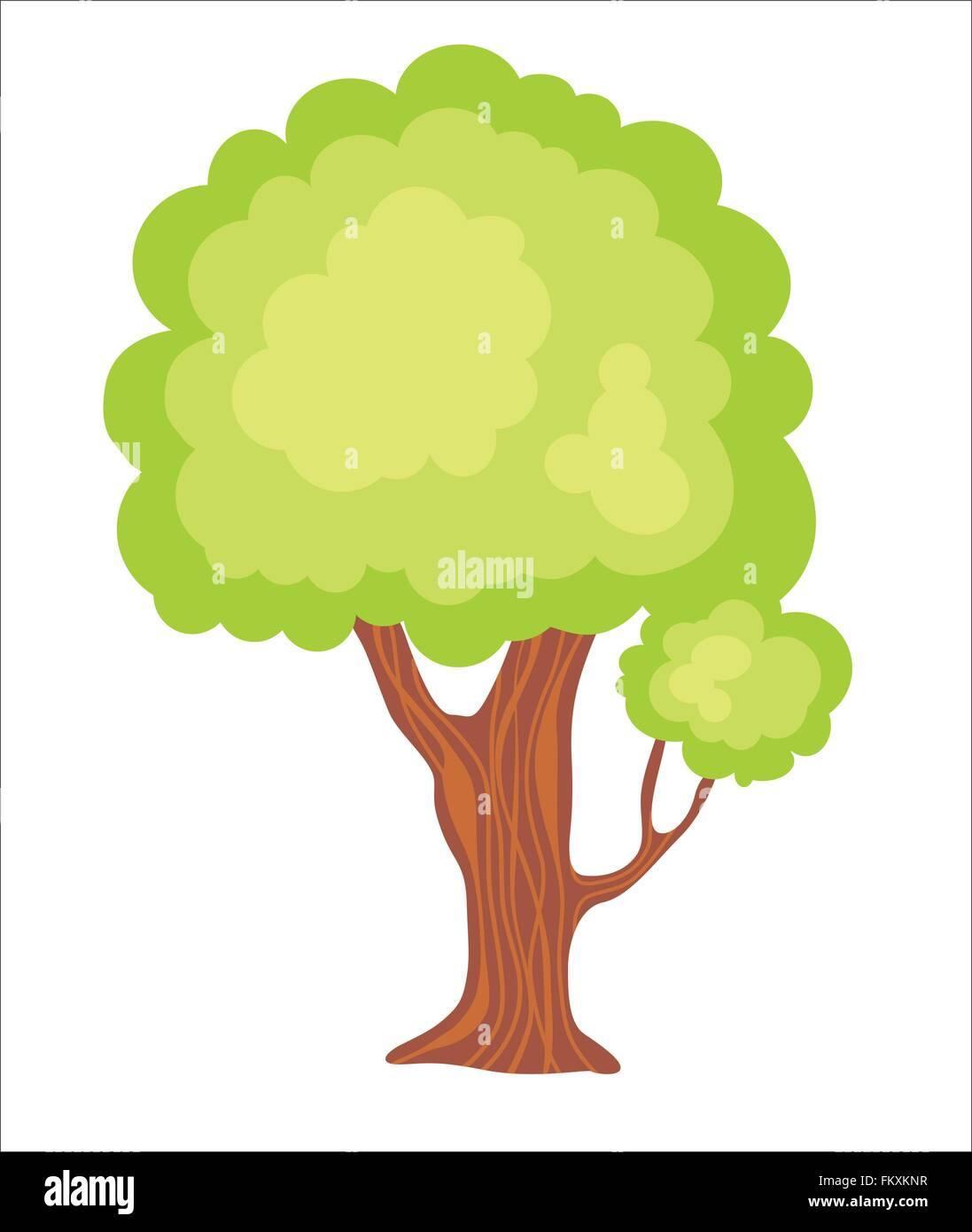 Green Garden Vector Cartoon Tree Illustration