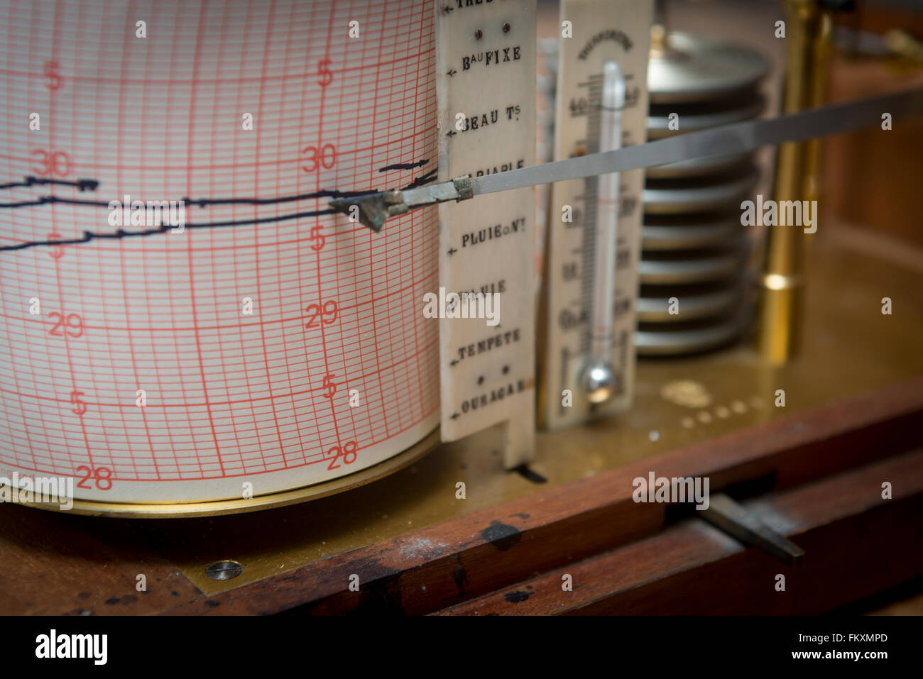 Barograph forecasting weather patterns and air pressure - Stock Image