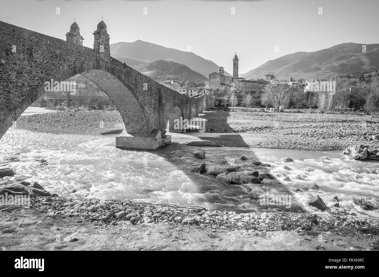 bobbio black and white - Stock Image