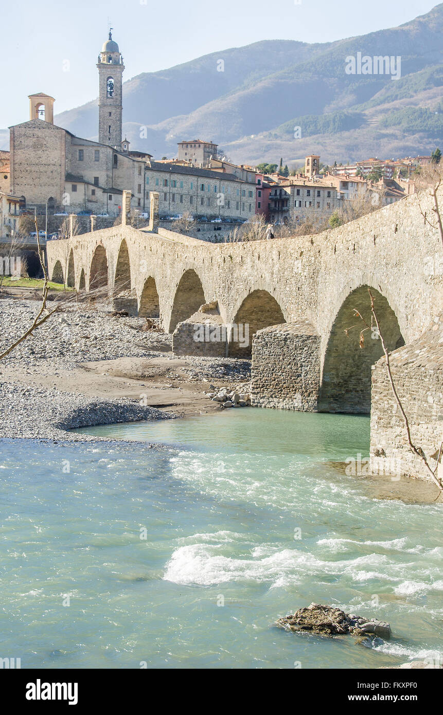 Bobbio pure water bridge - Stock Image