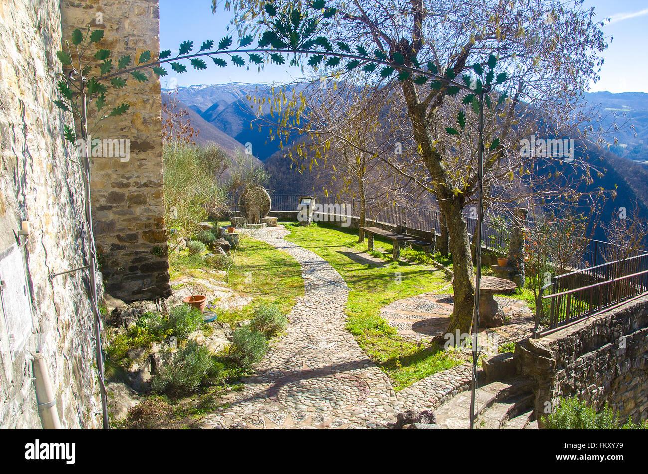 belvedere garden entrance viewpoint in Brugnello - Bobbio - Piacenza - Emilia Romagna - Stock Image