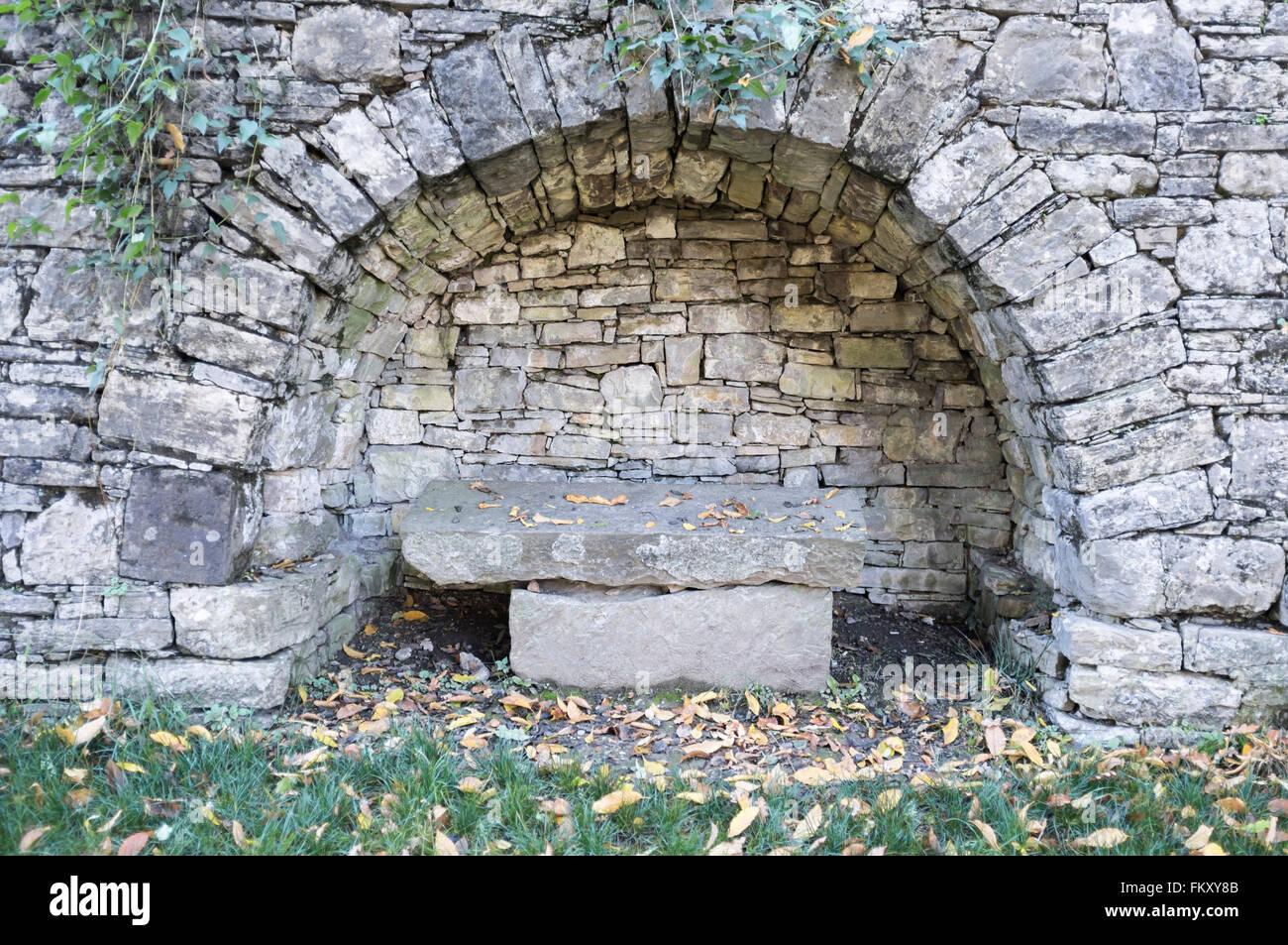 Arc Bench Stone In Public Park, Città Alta, Bergamo,Lombardy,Italy.