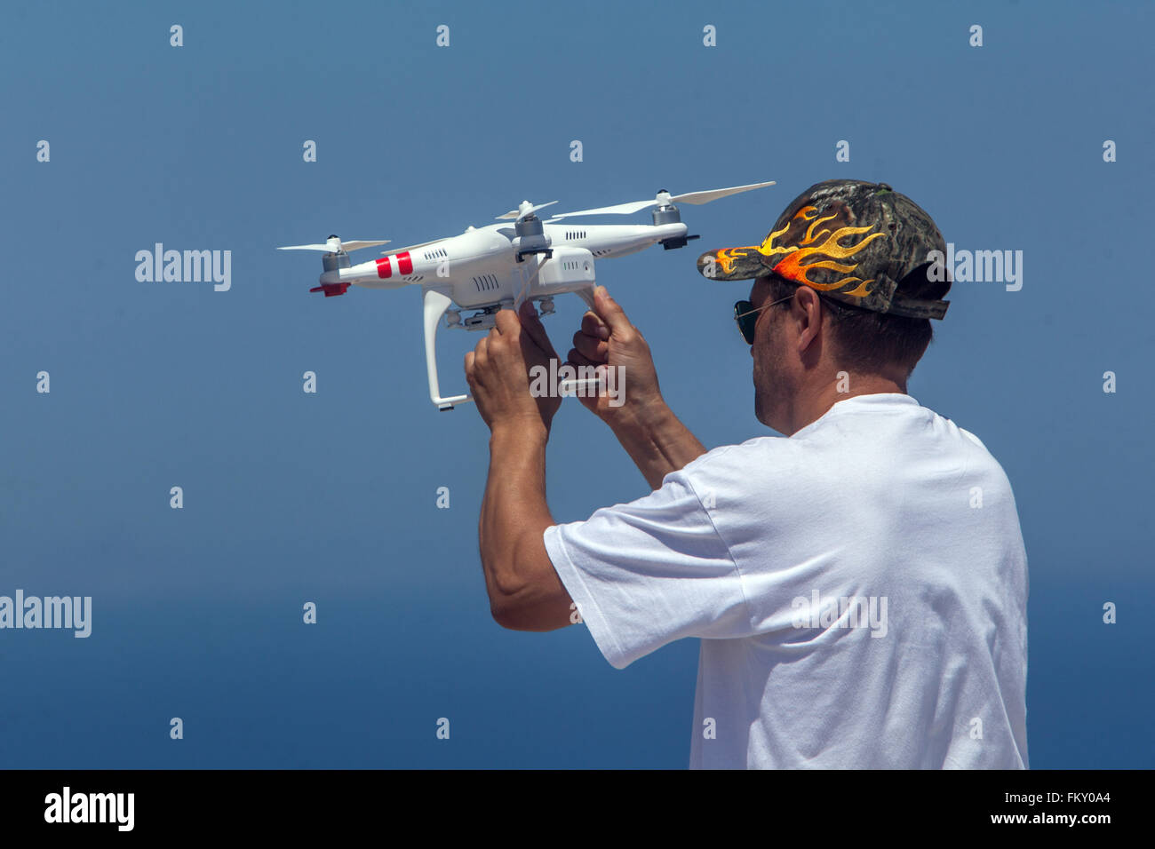 Man holds drone - Stock Image
