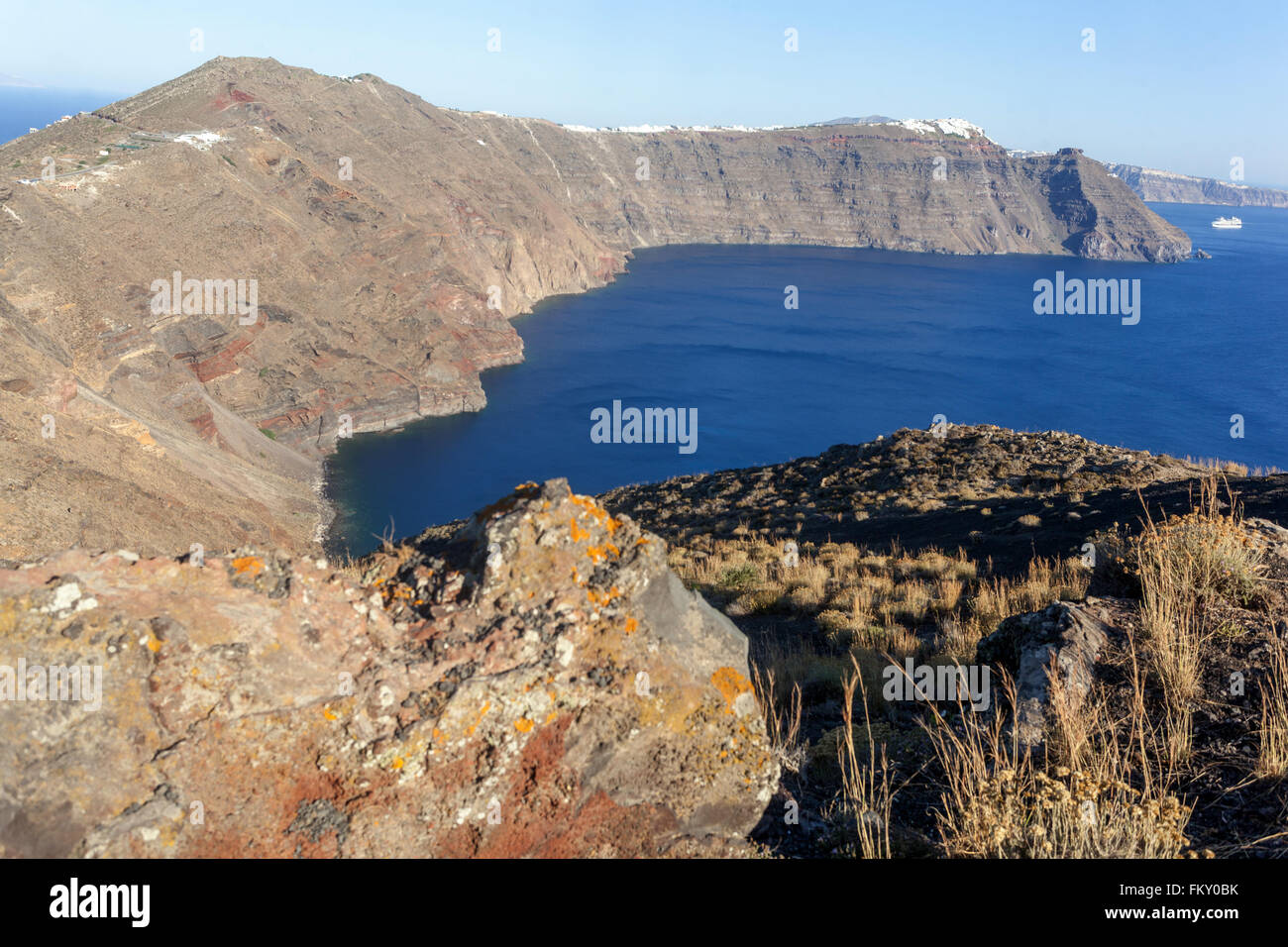 Santorini caldera,  Greece, volcanically profile - Stock Image
