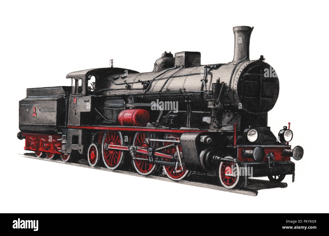Illustration of a steam locomotive OL12 - Stock Image