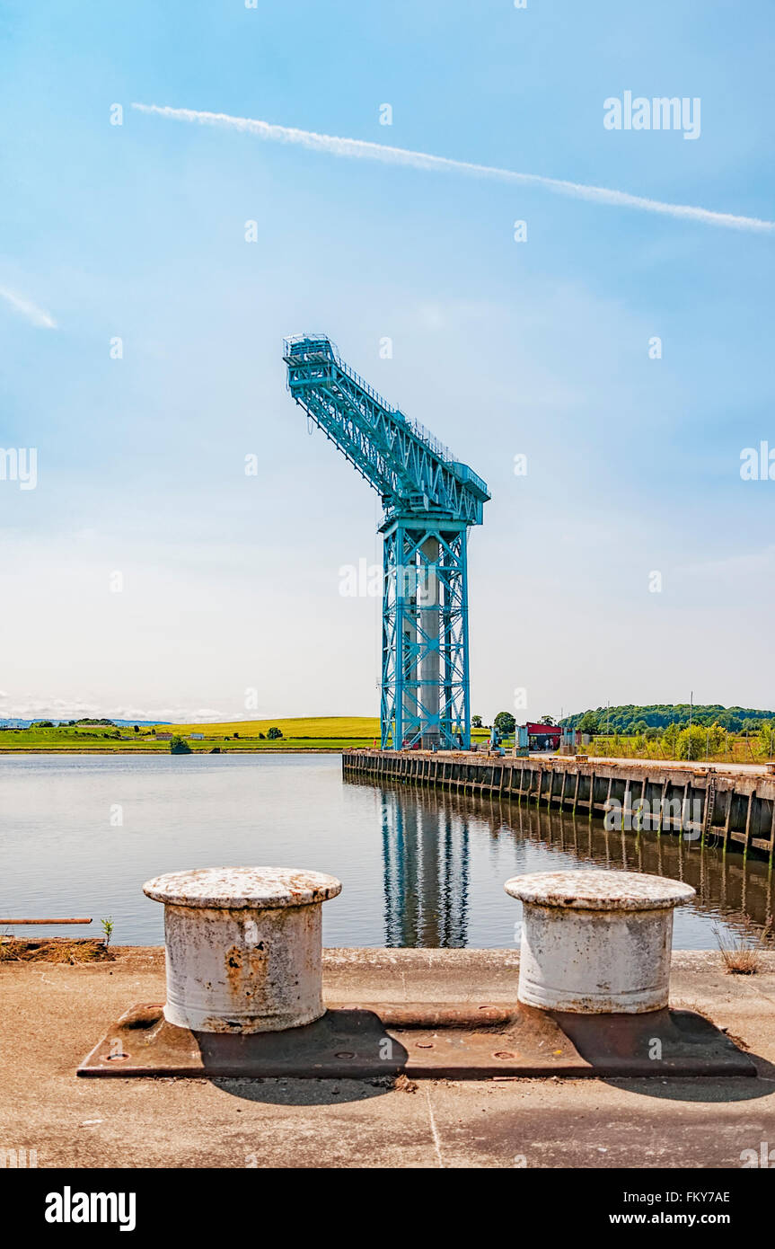 The large Titan crane that sits alone at the now demolished site of John Brown's shipyard in Clydebank. The - Stock Image