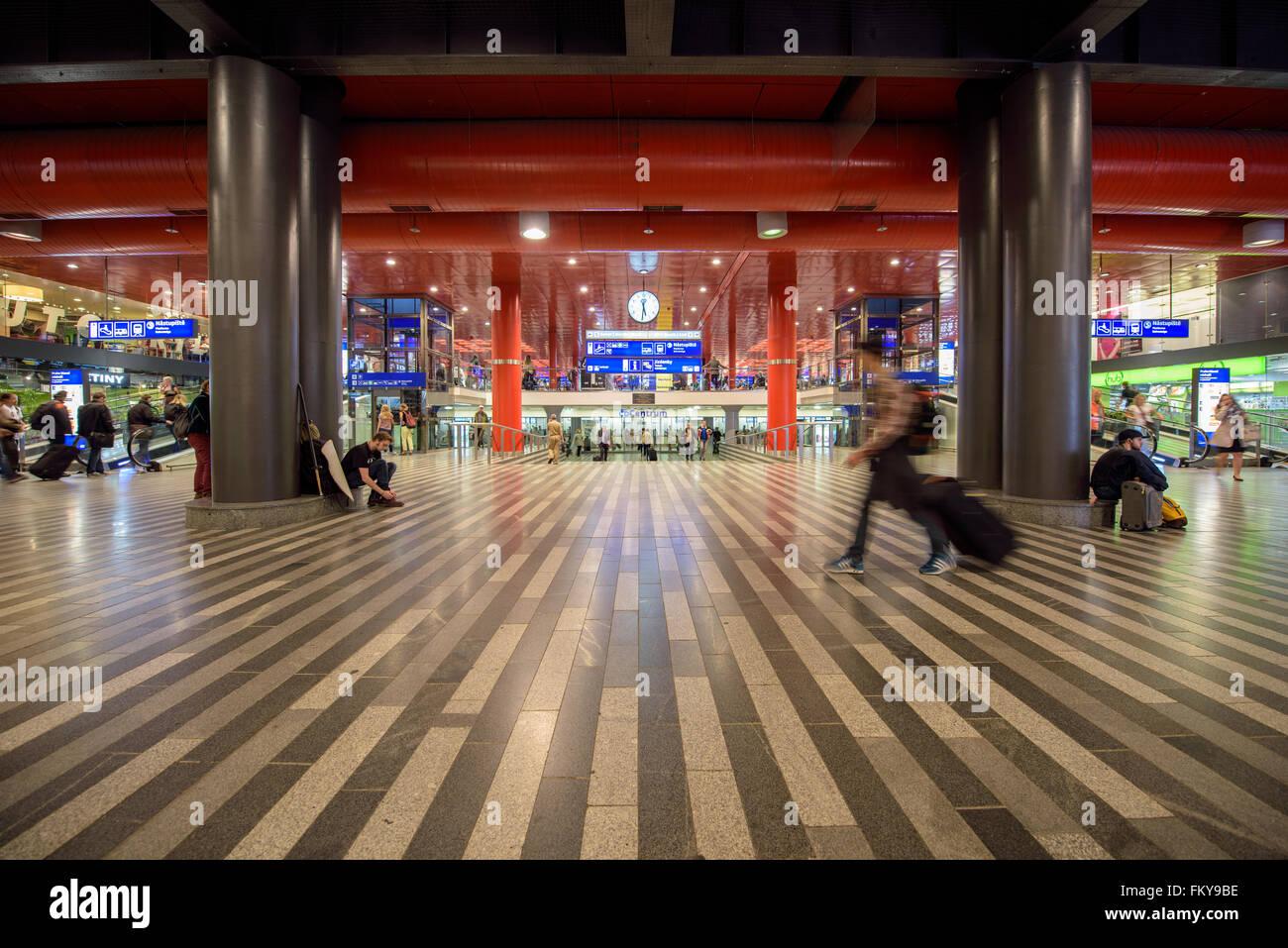 Waiting hall of a Prague Main Station - Stock Image