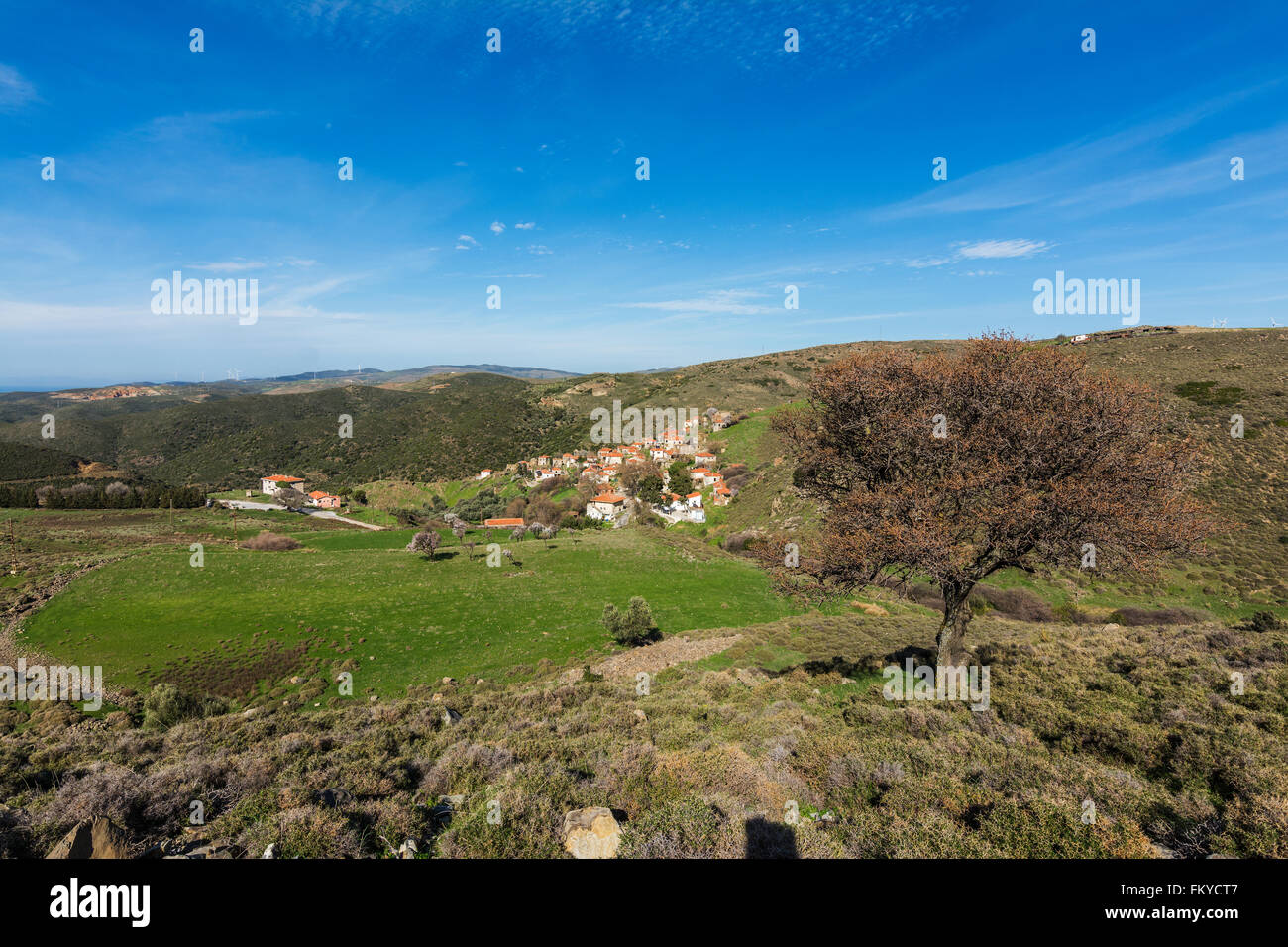 Landscape with small village - Stock Image
