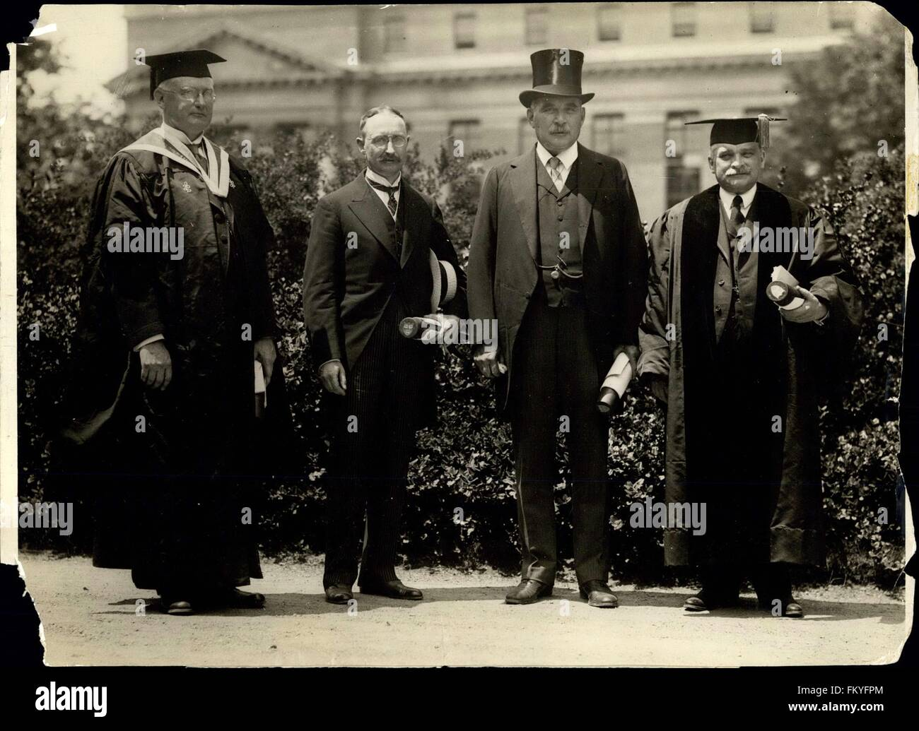 1903 - Receive Honorary Degrees at X ''Fair Harvard'': Left to right: William Colver Hil, of Springfield. Mass. Stock Photo