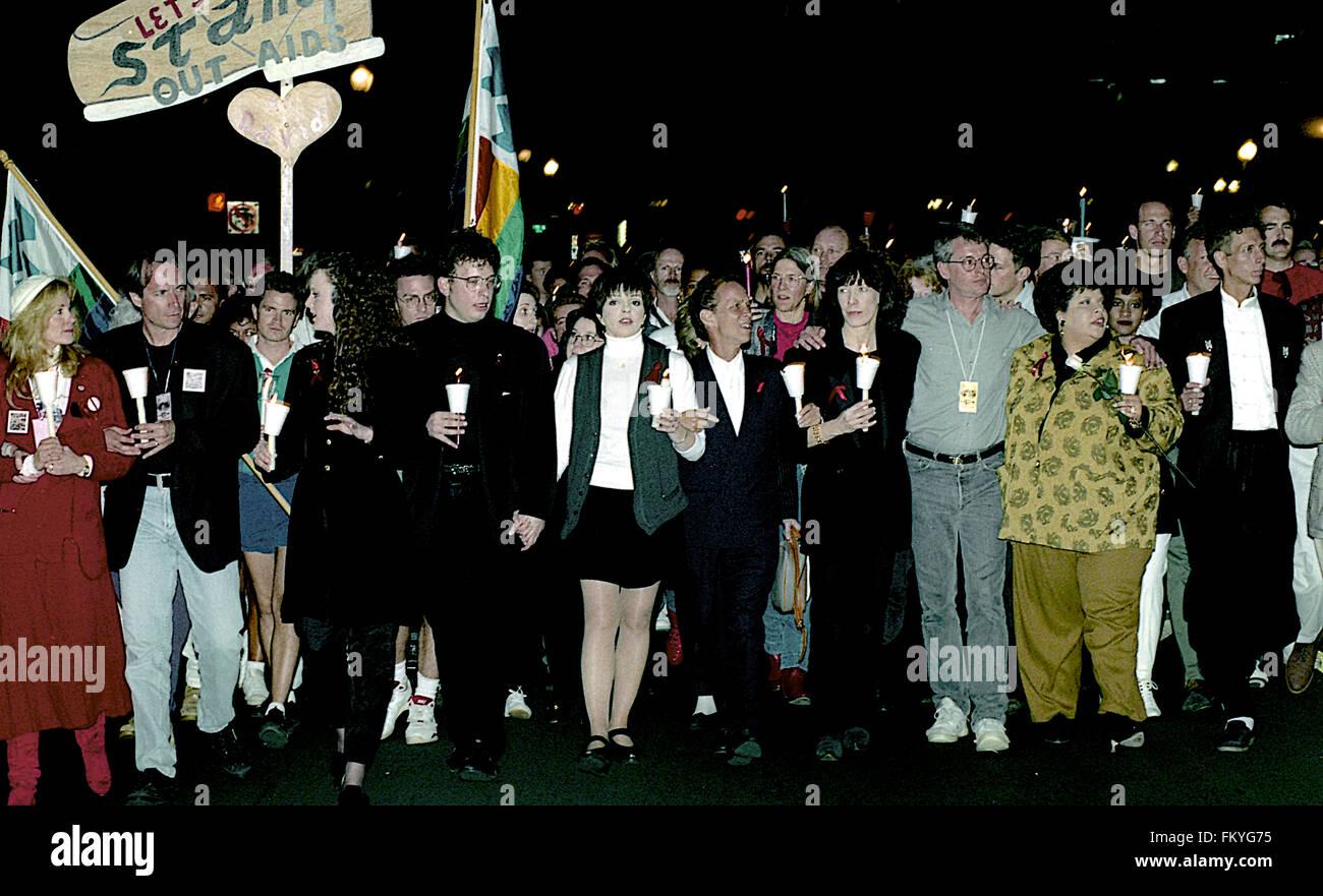 Washington, DC., USA, 10th October, 10-10-1992 Liza Minnelli, Joey Gray, Patti Austin, Lily Tomlin, Cleve Jones - Stock Image