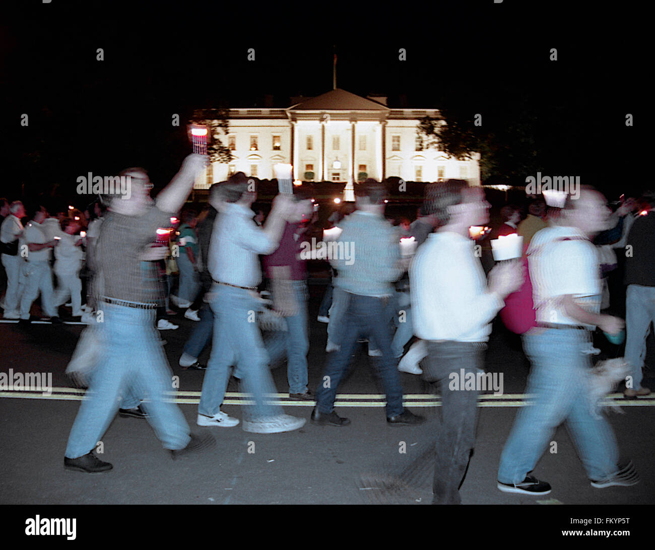 Washington, DC., USA, 10th October, 1992 The NAMES Project  AIDS candlelight Memorial March past the White House. - Stock Image