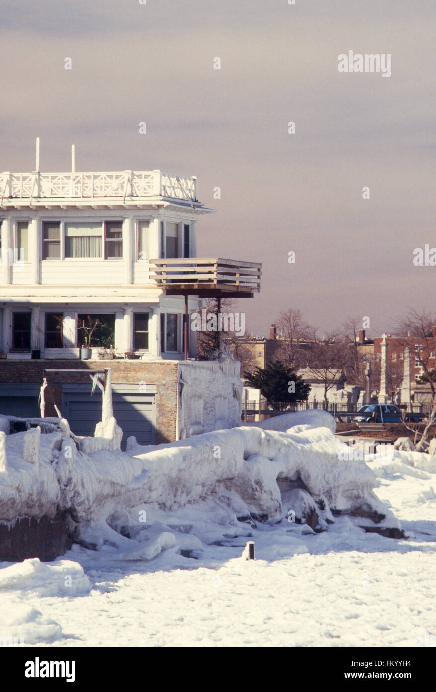 Chicago, Illinois, USA, 8th February, 1987 A powerful storm produced blizzard conditions in the Great Lakes region. Stock Photo